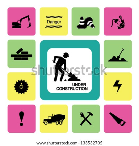 Thirteen icons set for construction - stock vector