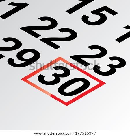 thirtieth day of the calendar vector - stock vector