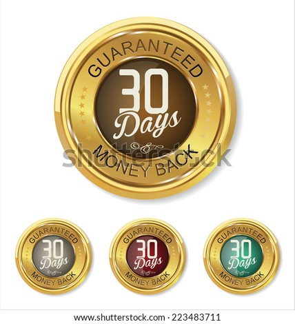 Thirty days money back badge - stock vector