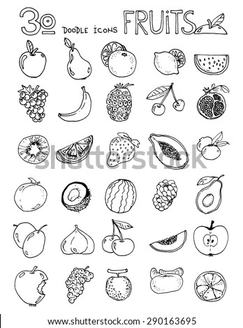 thirty doodle icons FRUITS simple drawing