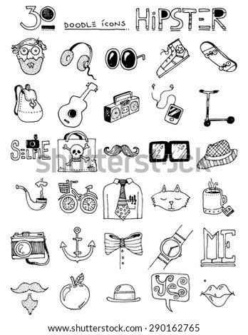 thirty doodle icons HIPSTER items sunglasses bow tie hat cat skateboard headphones - stock vector