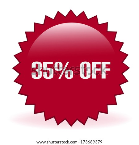 Thirty Five Percent Discount Sticker - stock vector