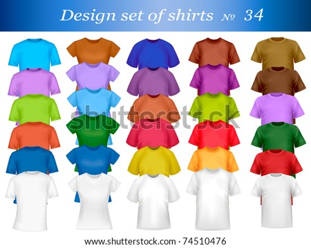 Thirty-fourth design shirt set. Vector illustration. - stock vector