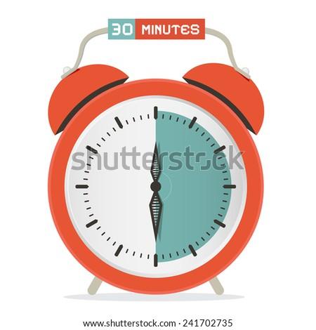 Thirty Minutes Stop Watch - Alarm Clock Vector Illustration  - stock vector