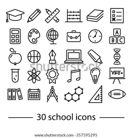 thirty school line icons - stock vector