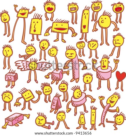 thirty-six characters hand drawn in emoticons style. - stock vector