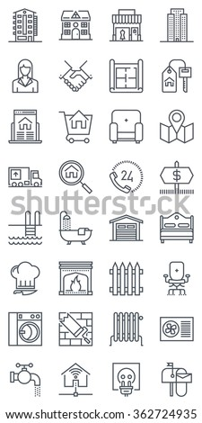 Thirty two real estate icons, icon set suitable for info graphics, websites and print media. Black and white flat line icons.  - stock vector