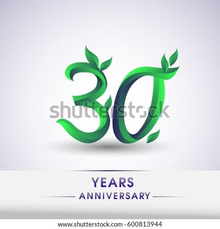 Thirty Years Anniversary Celebration Logotype Leaf Stock Vector