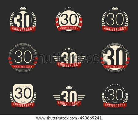 Thirty Years Anniversary Logotype Branches Ribbons Stock Vector