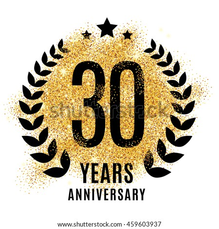 Thirty Years Golden Anniversary Sign Gold Stock Vector 459603937