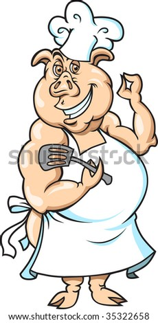 This a Pig Chef ready to cook. - stock vector