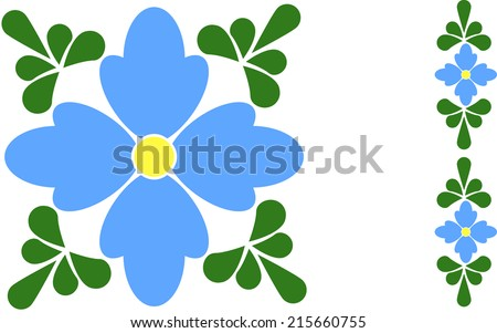 This abstract forget me not flower tile is done in traditional talavera style. It features a periwinkle colored floral in the center and green leaves in the corners.  - stock vector