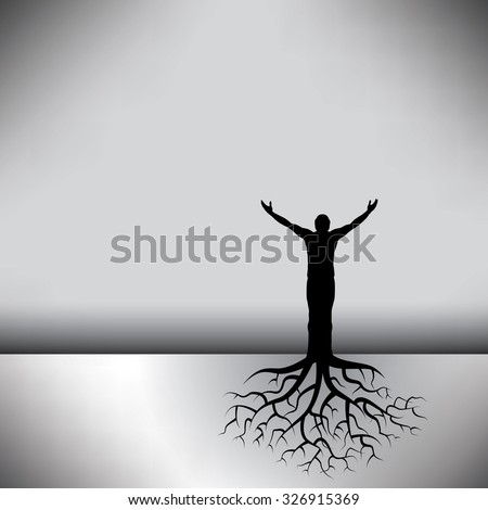 This black & white background has a man with tree roots - stock vector