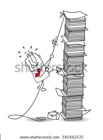 This businessman is climbing a stack of paper - stock vector