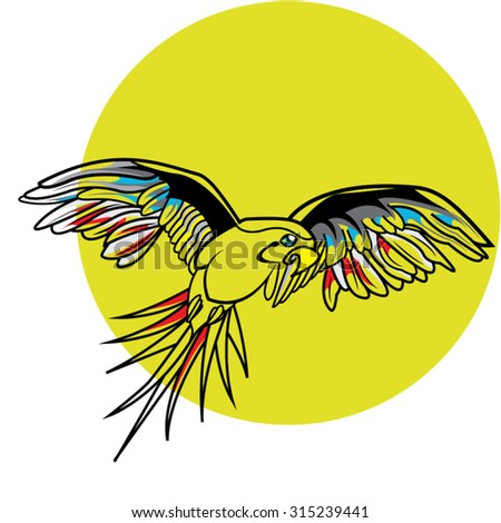 This file represents a transparent parrot with some color (red blue and yellow) on the feathers that is flying in front of the sun or in front of a yellow background. Everything is grouped and layered - stock vector