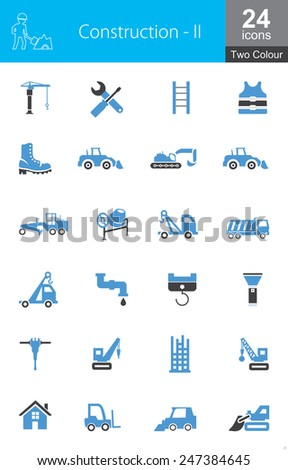 This icon set contains construction and heavy machinery icons. These are recommended for use on web applications, websites and mobile applications. - stock vector