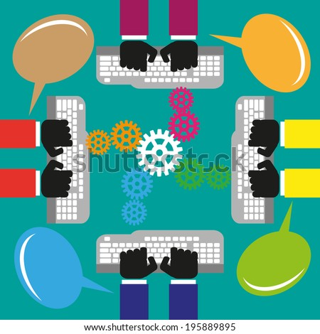 This illustrates the concept of teamwork, coordination and collaboration.  - stock vector