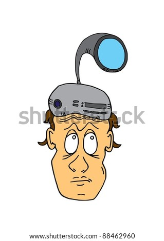 This illustration depicts a man head with computer hat - stock vector
