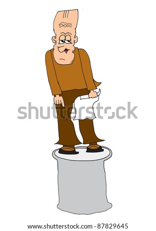 This illustration depicts a public speaking man staying on a barrel - stock vector