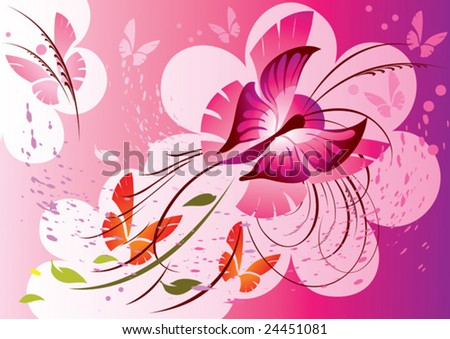 this illustration depicts beautiful butterfly and plants - stock vector