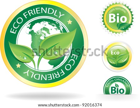 This image is a vector file representing a collection of 4 eco/bio badges,  all the elements can be scaled to any size without loss of resolution. - stock vector