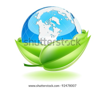 This image is a vector file representing a 3d Earth Globe in a leaf nest,  all the elements can be scaled to any size without loss of resolution. - stock vector