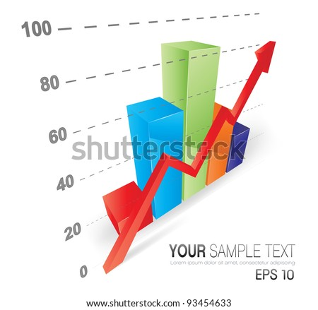 This image is a vector file representing a 3D Graph,  all the elements can be scaled to any size without loss of resolution. - stock vector