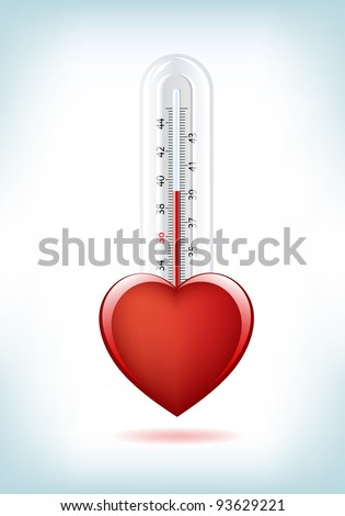 This image is a vector file representing a 3d Heart Thermometer,  all the elements can be scaled to any size without loss of resolution. - stock vector