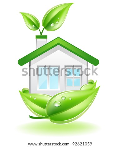 This image is a vector file representing a Eco House in a leaf nest,  all the elements can be scaled to any size without loss of resolution. - stock vector
