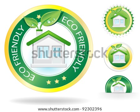 This image is a vector file representing a eco house label concept,  all the elements can be scaled to any size without loss of resolution. - stock vector
