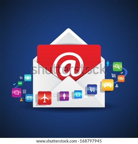 This image is a vector file representing a email contact envelope. / Contact Email Apps / Contact Email Apps - stock vector