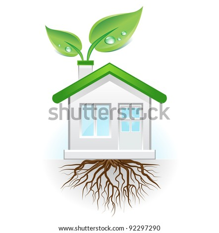 This image is a vector file representing a green house concept,  all the elements can be scaled to any size without loss of resolution. - stock vector