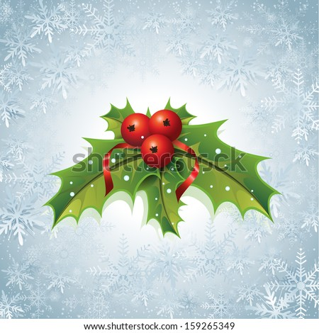 This image is a vector file representing a Holly Christmas Background. / Holly Christmas Background / Holly Christmas Background - stock vector