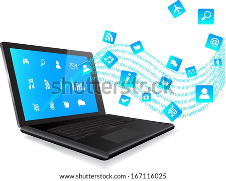 This image is a vector file representing a laptop on white background with blue apps coming out from  laptop/ Laptop Application Icons / Smartphone App Internet