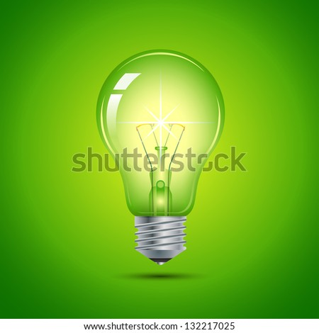 This image is a vector file representing a light bulb. / Green Light Bulb - stock vector