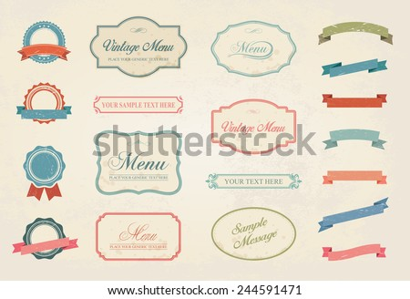 This image is a vector file representing a Premium Vintage Labels Vector Design Elements Collection Set. / Vintage Labels Vector Design Elements Collection Set /Vintage Labels Vector Collection Set - stock vector