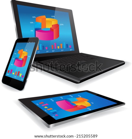 This image is a vector file representing a responsive design concept on various media devices./Responsive Design Concept/Responsive Design Concept / Laptop Tablet and Smart Phone with business graph