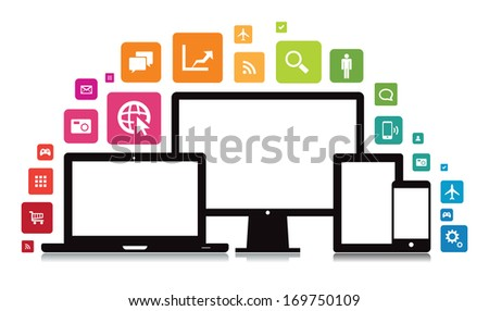 This image is a vector file representing a set of media technology devices with app icons. / Laptop Desktop Tablet Smartphone App / Laptop Desktop Tablet Smartphone App - stock vector