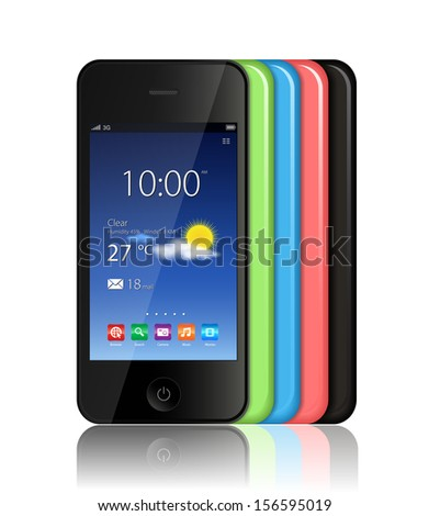 This image is a vector file representing a smart phone in different colors. / Smart Phone  / Smart Phone