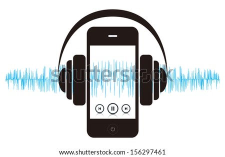 This image is a vector file representing a smart phone music player concept. / Smart phone Music Sound / Smart phone Music Sound - stock vector