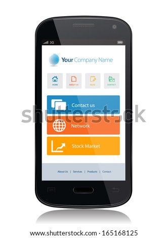 This image is a vector file representing a smartphone with a responsive design website. / Smartphone App Technology / Smartphone App Technology - stock vector
