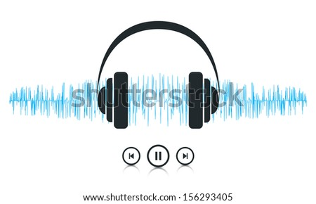 This image is a vector file representing a sound waves music player concept. / Music Sound Waves / Music Sound Waves - stock vector