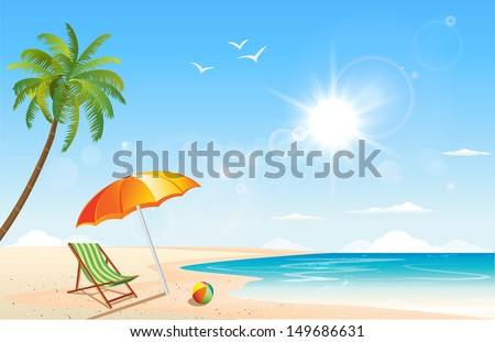 This image is a vector file representing a summer beach inspired scene. / Summer / Summer - stock vector