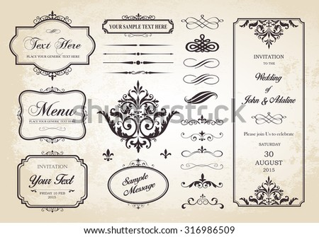 This image is a vector file representing a Vector Set of Borders, Frames and Page Dividers design illustration./Borders, Frames and Page Dividers/Vector Set of Borders, Frames and Page Dividers - stock vector