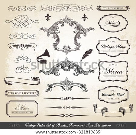 This image is a vector file representing a Vintage Set of Borders Frames and Page Decorations./Vintage Vector Set of Borders Frames Dividers Page Decorations/Borders Frames Dividers Page Decorations