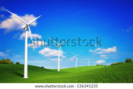 This image is a vector file represents a Wind Turbine landscape illustration. / Wind Turbine landscape / Wind Turbine landscape - stock vector