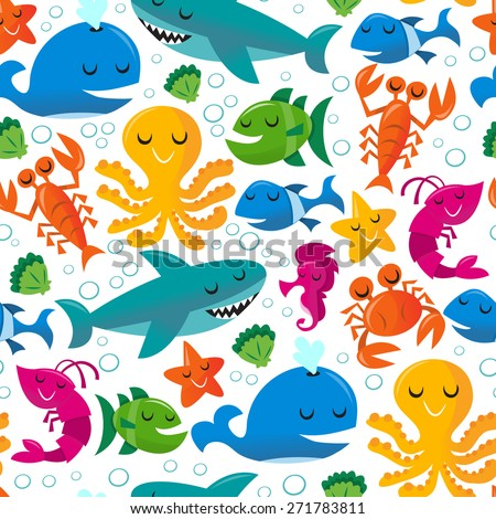 This image is a vector illustration of happy fun cartoon sea creatures on seamless pattern background.
