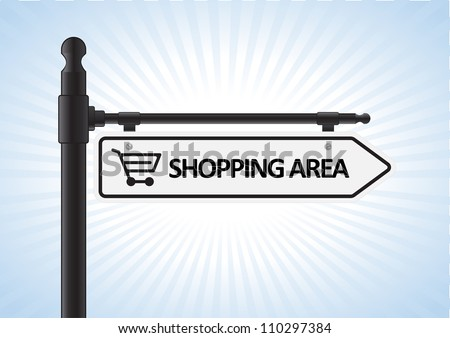 This image is a vector illustration representing a shopping direction sign what can be scaled to any size without loss of resolution.
