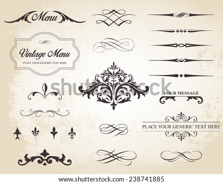 This image is a vector set that contains calligraphic elements, borders, page dividers, page decoration and ornaments./Vintage Vector Label Page Dividers and Borders/Vintage Vector Label Page Dividers