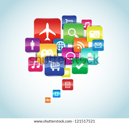 This image represents a cloud app illustration. / App - stock vector